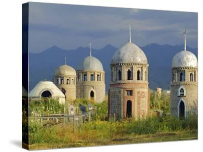 Traditional Kirghiz Cemetary, Near Burana Tower, Kyrgyzstan, Central Asia-Upperhall Ltd-Stretched Canvas Print