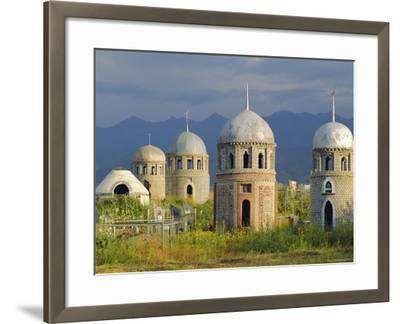 Traditional Kirghiz Cemetary, Near Burana Tower, Kyrgyzstan, Central Asia-Upperhall Ltd-Framed Photographic Print