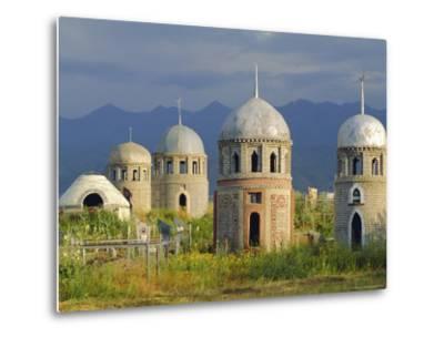 Traditional Kirghiz Cemetary, Near Burana Tower, Kyrgyzstan, Central Asia-Upperhall Ltd-Metal Print