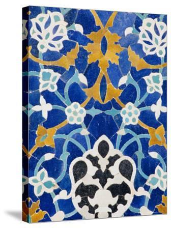 Ceramic Detail on Mir-I-Arab Madressa (Madrasa), Bukhara, Uzbekistan, Central Asia-Upperhall Ltd-Stretched Canvas Print