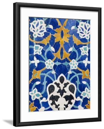 Ceramic Detail on Mir-I-Arab Madressa (Madrasa), Bukhara, Uzbekistan, Central Asia-Upperhall Ltd-Framed Photographic Print