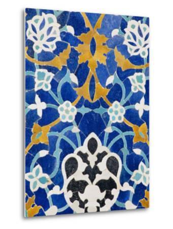 Ceramic Detail on Mir-I-Arab Madressa (Madrasa), Bukhara, Uzbekistan, Central Asia-Upperhall Ltd-Metal Print