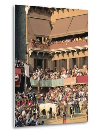 The Opening Parade of the Palio Horse Race, Siena, Tuscany, Italy, Europe-Upperhall Ltd-Metal Print
