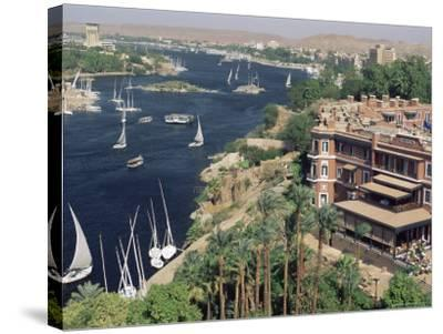Feluccas on the River Nile and the Old Cataract Hotel, Aswan, Egypt, North Africa, Africa-Upperhall Ltd-Stretched Canvas Print