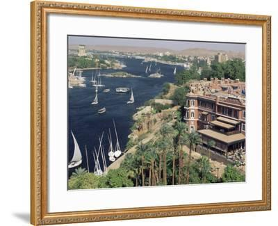 Feluccas on the River Nile and the Old Cataract Hotel, Aswan, Egypt, North Africa, Africa-Upperhall Ltd-Framed Photographic Print