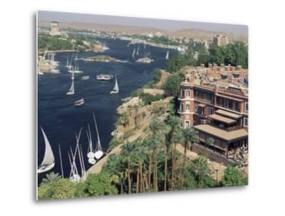 Feluccas on the River Nile and the Old Cataract Hotel, Aswan, Egypt, North Africa, Africa-Upperhall Ltd-Metal Print