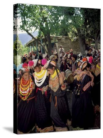 Kalash Women, Rites of Spring, Joshi, Bumburet Valley, Pakistan, Asia-Upperhall Ltd-Stretched Canvas Print