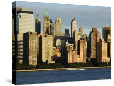 Lower Manhattan Financial District Skyline Across the Hudson River, New York City, New York, USA-Amanda Hall-Stretched Canvas Print