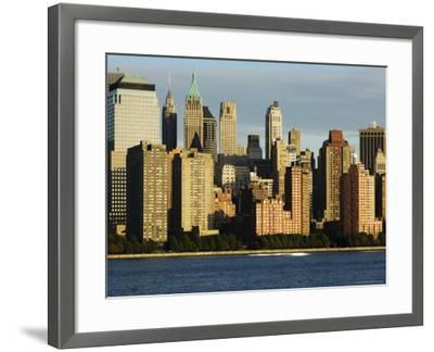 Lower Manhattan Financial District Skyline Across the Hudson River, New York City, New York, USA-Amanda Hall-Framed Photographic Print