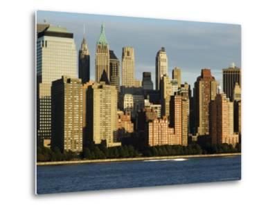 Lower Manhattan Financial District Skyline Across the Hudson River, New York City, New York, USA-Amanda Hall-Metal Print
