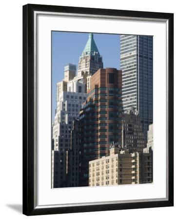 Tall Buildings in the Financial District of Lower Manhattan, New York City, New York, USA-Amanda Hall-Framed Photographic Print