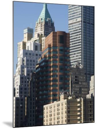 Tall Buildings in the Financial District of Lower Manhattan, New York City, New York, USA-Amanda Hall-Mounted Photographic Print