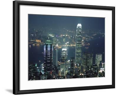 Two Ifc Building on Right and Skyline at Night, from Hong Kong Island, Hong Kong, China, Asia-Amanda Hall-Framed Photographic Print