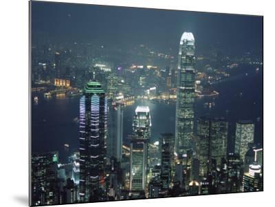 Two Ifc Building on Right and Skyline at Night, from Hong Kong Island, Hong Kong, China, Asia-Amanda Hall-Mounted Photographic Print