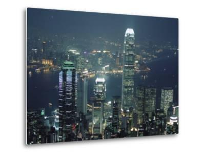 Two Ifc Building on Right and Skyline at Night, from Hong Kong Island, Hong Kong, China, Asia-Amanda Hall-Metal Print