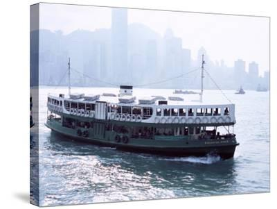 Star Ferry, Victoria Harbour, with Hong Kong Island Skyline in Mist Beyond, Hong Kong, China, Asia-Amanda Hall-Stretched Canvas Print