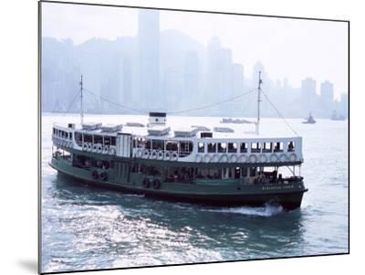 Star Ferry, Victoria Harbour, with Hong Kong Island Skyline in Mist Beyond, Hong Kong, China, Asia-Amanda Hall-Mounted Photographic Print