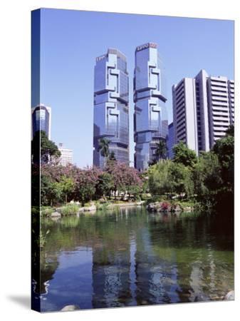 The Lippo Towers from Hong Kong Park, Central, Hong Kong Island, Hong Kong, China, Asia-Amanda Hall-Stretched Canvas Print