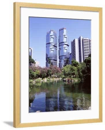 The Lippo Towers from Hong Kong Park, Central, Hong Kong Island, Hong Kong, China, Asia-Amanda Hall-Framed Photographic Print