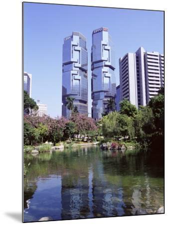 The Lippo Towers from Hong Kong Park, Central, Hong Kong Island, Hong Kong, China, Asia-Amanda Hall-Mounted Photographic Print