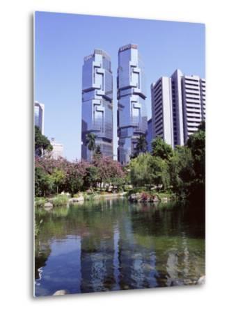 The Lippo Towers from Hong Kong Park, Central, Hong Kong Island, Hong Kong, China, Asia-Amanda Hall-Metal Print