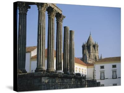 Roman Temple and Cathedral, Evora, Alentejo, Portugal, Europe-Firecrest Pictures-Stretched Canvas Print