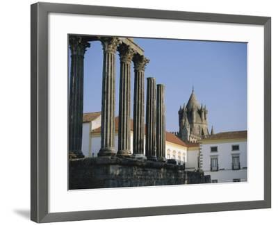 Roman Temple and Cathedral, Evora, Alentejo, Portugal, Europe-Firecrest Pictures-Framed Photographic Print