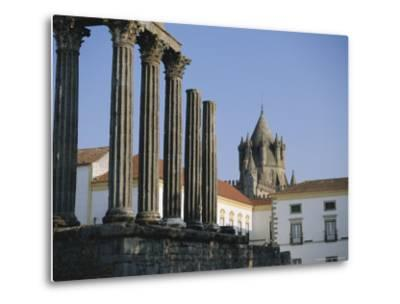 Roman Temple and Cathedral, Evora, Alentejo, Portugal, Europe-Firecrest Pictures-Metal Print