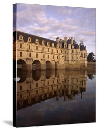 Chateau of Chenonceaux, Reflected in Water, Loire Valley, Centre, France, Europe-Jeremy Lightfoot-Stretched Canvas Print