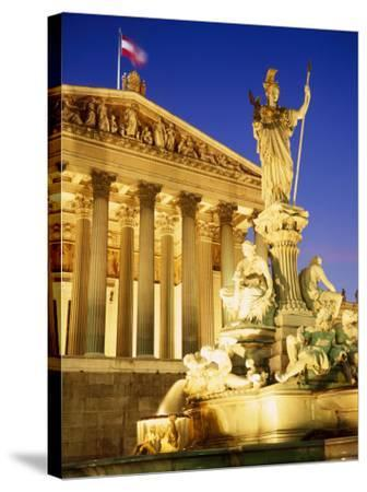 Statue in Front of the Parliament Buildings in Vienna, Austria-Roy Rainford-Stretched Canvas Print