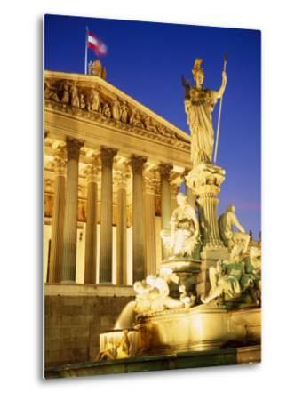 Statue in Front of the Parliament Buildings in Vienna, Austria-Roy Rainford-Metal Print