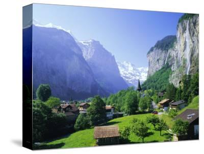 Lauterbrunnen and Staubbach Falls, Jungfrau Region, Swiss Alps, Switzerland, Europe-Roy Rainford-Stretched Canvas Print