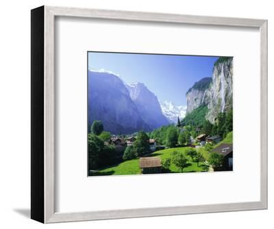 Lauterbrunnen and Staubbach Falls, Jungfrau Region, Swiss Alps, Switzerland, Europe-Roy Rainford-Framed Photographic Print
