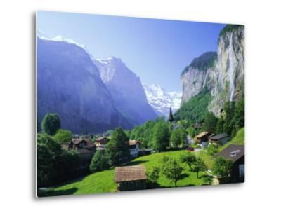 Lauterbrunnen and Staubbach Falls, Jungfrau Region, Swiss Alps, Switzerland, Europe-Roy Rainford-Metal Print