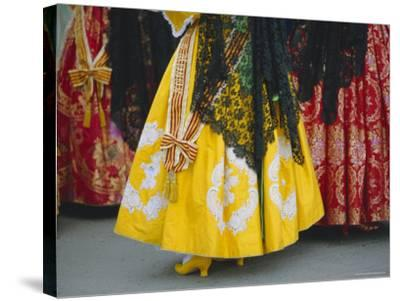 Traditional Dresses, Las Fallas Fiesta, Valencia, Spain, Europe-Rob Cousins-Stretched Canvas Print