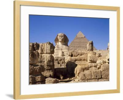The Great Sphinx and the Chephren Pyramid, Giza, Cairo, Egypt, Africa-Nigel Francis-Framed Photographic Print