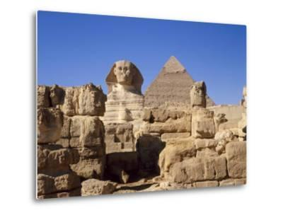 The Great Sphinx and the Chephren Pyramid, Giza, Cairo, Egypt, Africa-Nigel Francis-Metal Print