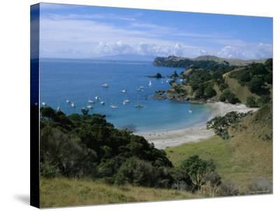 Boats at Anchorage, Waiheke Island, Central Auckland, North Island, New Zealand, Pacific-D H Webster-Stretched Canvas Print