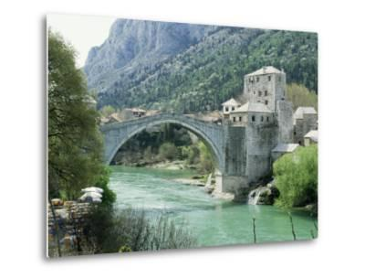 The Turkish Bridge Over the River Neretva Dividing the Town, Mostar, Bosnia, Bosnia-Herzegovina-Michael Short-Metal Print