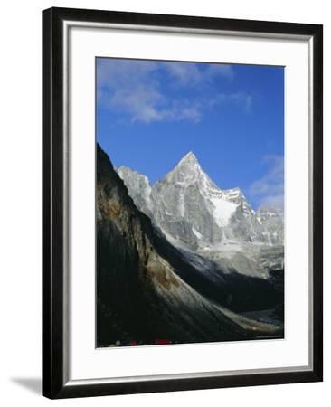 Kya Jo Ri Mountain from Machermo, Machermo, Himalayas, Nepal, Asia-Alison Wright-Framed Photographic Print