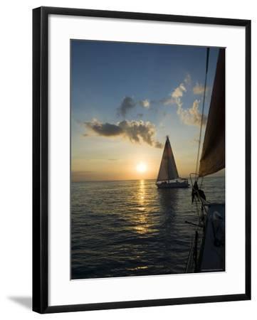 Sailboats at Sunset, Key West, Florida, United States of America, North America-Robert Harding-Framed Photographic Print