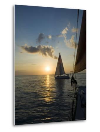 Sailboats at Sunset, Key West, Florida, United States of America, North America-Robert Harding-Metal Print