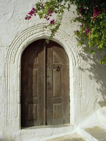 Traditional Arched Doorway, Lindos Town, Rhodes, Dodecanese Islands, Greece-Fraser Hall-Framed Photographic Print