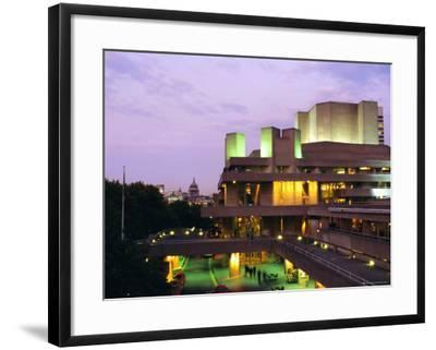 The National Theatre in the Evening, South Bank, London, England, UK-Fraser Hall-Framed Photographic Print