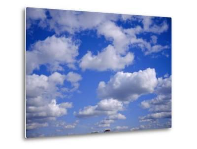Blue Sky and Puffy White Clouds-Fraser Hall-Metal Print