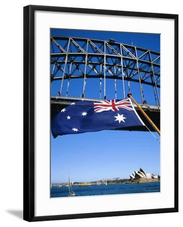 Flag, Sydney Harbour Bridge and Opera House, Sydney, New South Wales, Australia-Fraser Hall-Framed Photographic Print