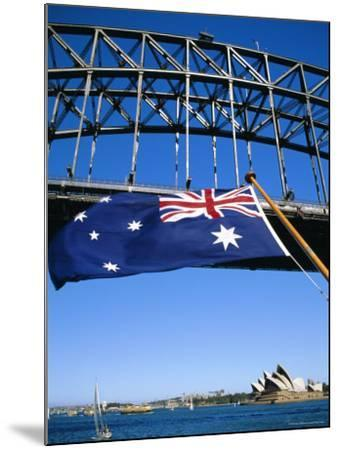 Flag, Sydney Harbour Bridge and Opera House, Sydney, New South Wales, Australia-Fraser Hall-Mounted Photographic Print