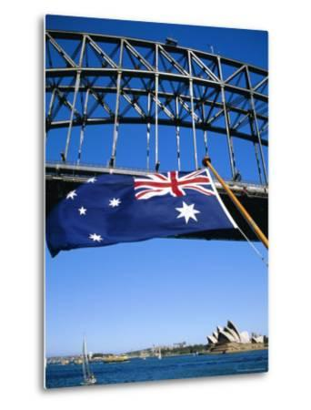 Flag, Sydney Harbour Bridge and Opera House, Sydney, New South Wales, Australia-Fraser Hall-Metal Print