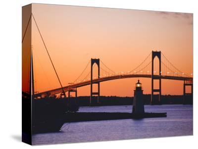Newport Bridge and Harbor at Sunset, Newport, Rhode Island, USA-Fraser Hall-Stretched Canvas Print
