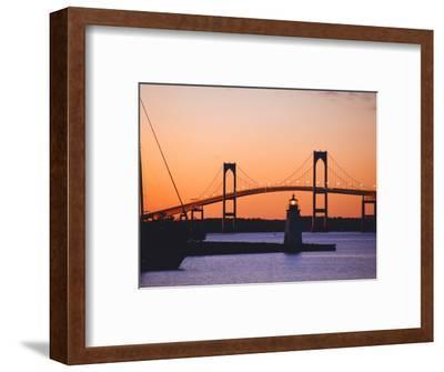 Newport Bridge and Harbor at Sunset, Newport, Rhode Island, USA-Fraser Hall-Framed Photographic Print